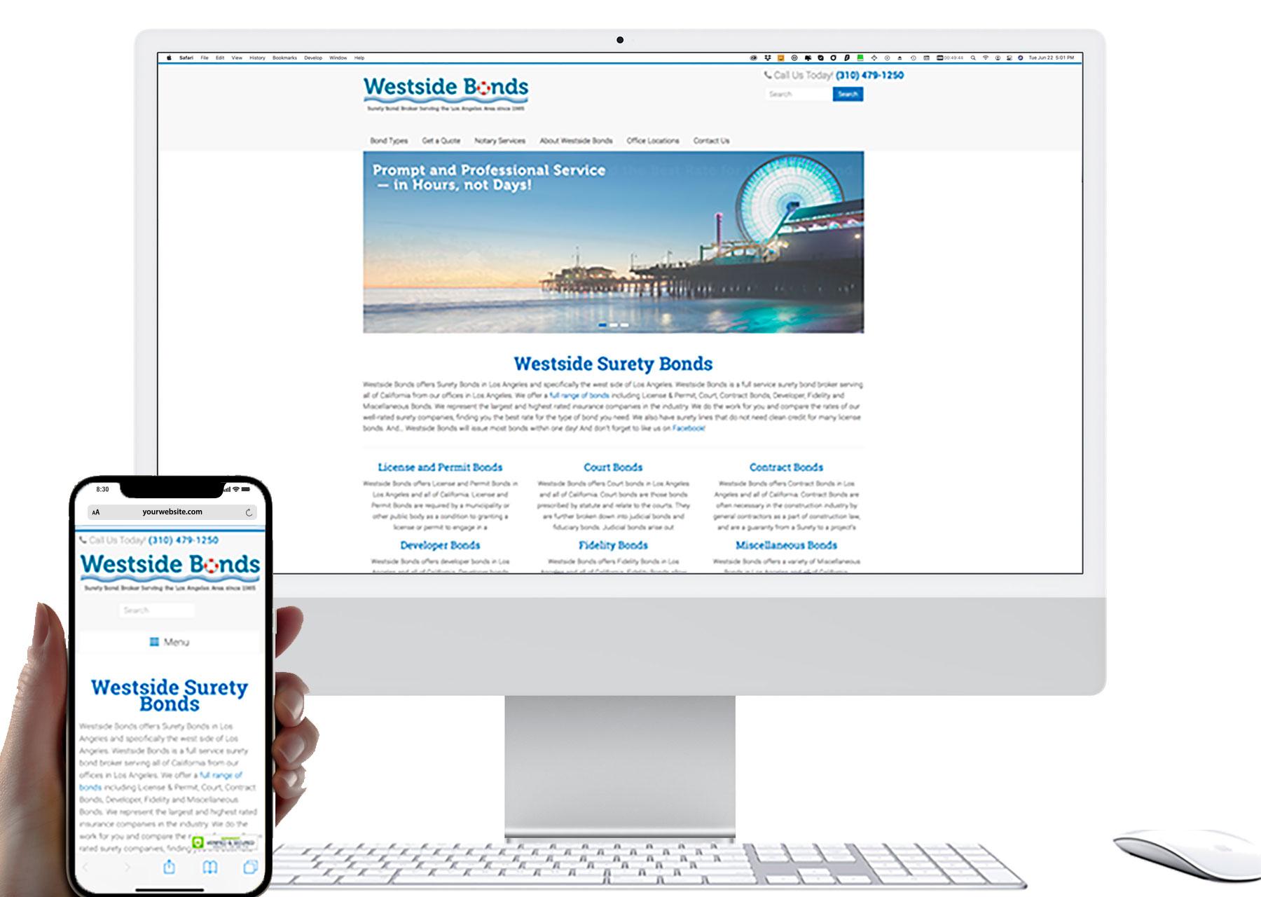 Marketing by Design   Portfolio: Westside Bonds Website